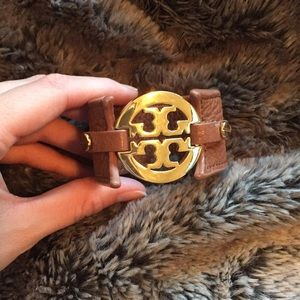 Tory Burch Brown Leather Cuff